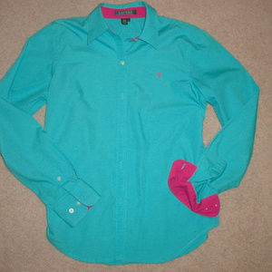 NEW $89.50 Ralph Lauren LOGO turquoise pink shirt